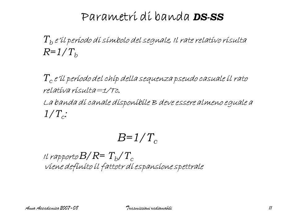 Anno Accademico 2007-08Trasmissioni radiomobili11 Parametri di banda DS-SS T b e'il periodo di simbolo del segnale, Il rate relativo risulta R=1/T b T c e'il periodo del chip della sequenza pseudo casuale il rato relativa risulta=1/Tc.