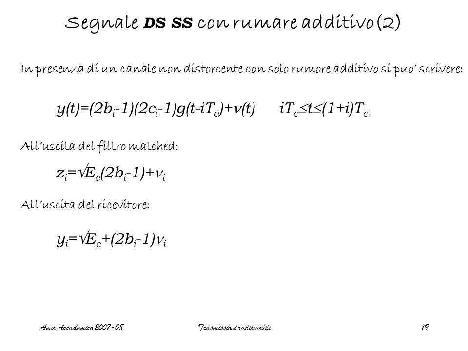 Anno Accademico 2007-08Trasmissioni radiomobili19 Segnale DS SS con rumare additivo(2) In presenza di un canale non distorcente con solo rumore additivo si puo' scrivere: y(t)=(2b i -1)(2c i -1)g(t-iT c )+ (t) iT c  t  (1+i)T c z i =  E c (2b i -1)+ i All'uscita del filtro matched: All'uscita del ricevitore: y i =  E c +(2b i -1) i
