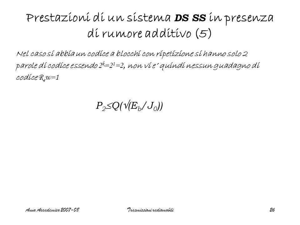Anno Accademico 2007-08Trasmissioni radiomobili26 Prestazioni di un sistema DS SS in presenza di rumore additivo (5) P 2  Q(  (E b /J 0 )) Nel caso si abbia un codice a blocchi con ripetizione si hanno solo 2 parole di codice essendo 2 k =2 1 =2, non vi e' quindi nessun guadagno di codice R c w=1