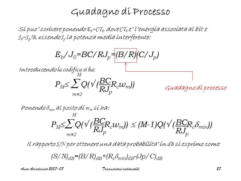 Anno Accademico 2007-08Trasmissioni radiomobili27 Guadagno di Processo E b /J 0 =BC/RJ p =(B/R)(C/J p ) Si puo' scrivere ponendo E b =CT b, dove CT b e' l'energia associata al bit e J 0 =J p /B, e ssendo J p la potenza media interferente: Introducendo la codifica si ha: P M  Q(  ( R c w m ))  m=2 M BC RJ p Ponendo  min al posto di w m si ha:  m=2 M P M  Q(  ( R c w m ))  (M-1)Q(  ( R c  min )) BC RJ p BC RJ p Il rapporto S/N per ottenere una data probabilita' in dB si esprime come: (S/N) dB =(B/R) dB +(R c  min ) dB -(Jp/C) dB Guadagno di processo