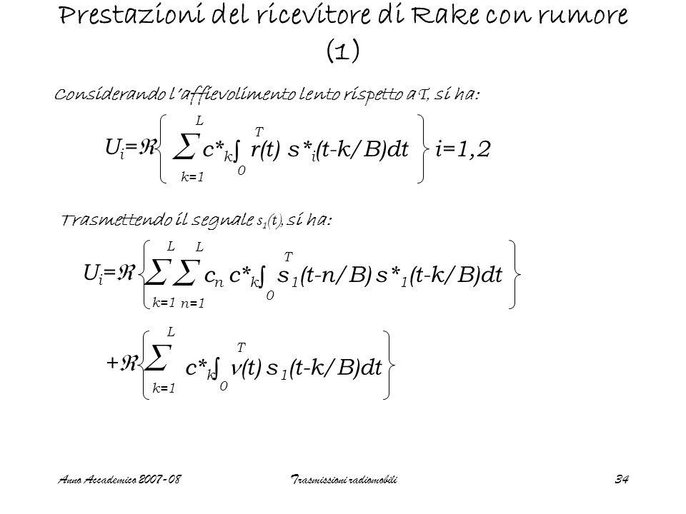 Anno Accademico 2007-08Trasmissioni radiomobili34 Prestazioni del ricevitore di Rake con rumore (1) Considerando l'affievolimento lento rispetto a T, si ha: Ui=Ui= c* k r(t) s* i (t-k/B)dt i=1,2  k=1 L ∫ 0 T Trasmettendo il segnale s 1 (t), si ha:  k=1 L ++ c* k (t) s 1 (t-k/B)dt ∫ 0 T c n c* k s 1 (t-n/B) s* 1 (t-k/B)dt Ui=Ui= ∫ 0 T  k=1 L  n=1 L