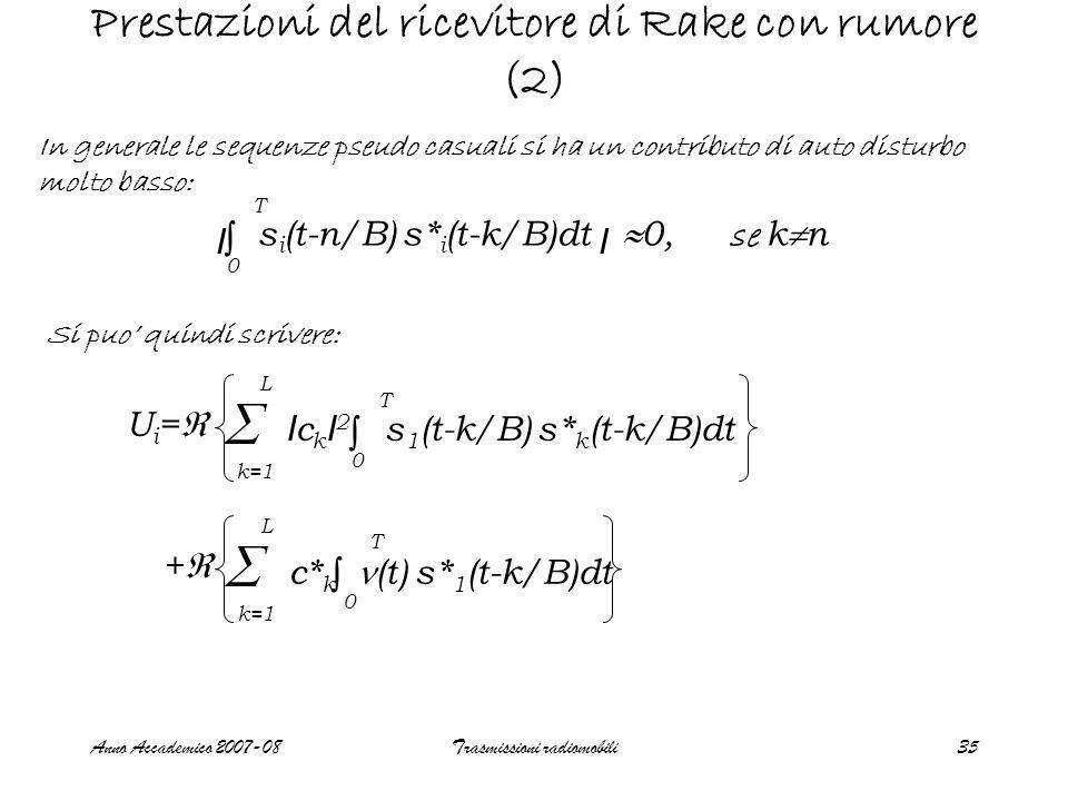 Anno Accademico 2007-08Trasmissioni radiomobili35 Prestazioni del ricevitore di Rake con rumore (2) In generale le sequenze pseudo casuali si ha un contributo di auto disturbo molto basso: Si puo' quindi scrivere: I c k I 2 s 1 (t-k/B) s* k (t-k/B)dt Ui=Ui= ∫ 0 T  k=1 L  L ++ c* k (t) s* 1 (t-k/B)dt ∫ 0 T I s i (t-n/B) s* i (t-k/B)dt  0, se k  n ∫ 0 T