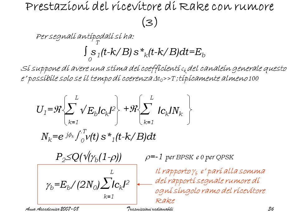 Anno Accademico 2007-08Trasmissioni radiomobili36 Prestazioni del ricevitore di Rake con rumore (3) Per segnali antipodali si ha:  E b I c k I 2 U1=U1=  k=1 L  L ++ IckINkIckINk N k =e j  k  (t) s* 1 (t-k/B)dt.T 0 P 2  Q(  (  b (1-  ))  =-1 per BPSK e 0 per QPSK  b =E b /(2N 0 ) I c k I 2  k=1 L Si suppone di avere una stima dei coefficienti c k del canalein generale questo e' possibile solo se il tempo di coerenza  t 0 >>T ; tipicamente almeno 100 Il rapporto  b e ' pari alla somma dei rapporti segnale rumore di ogni singolo ramo del ricevitore Rake s 1 (t-k/B) s* k (t-k/B)dt=E b 0 T ∫