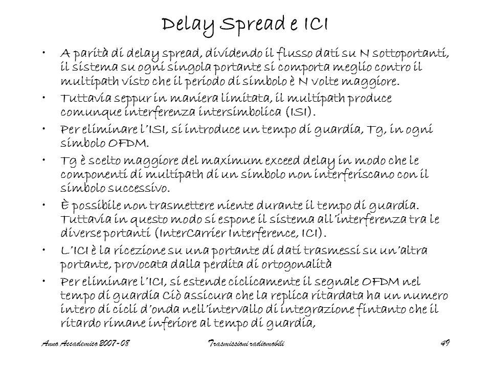 Anno Accademico 2007-08Trasmissioni radiomobili49 Delay Spread e ICI A parità di delay spread, dividendo il flusso dati su N sottoportanti, il sistema su ogni singola portante si comporta meglio contro il multipath visto che il periodo di simbolo è N volte maggiore.