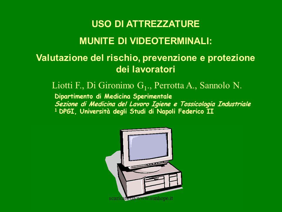 USO DI ATTREZZATURE MUNITE DI VIDEOTERMINALI: Valutazione del rischio, prevenzione e protezione dei lavoratori Liotti F., Di Gironimo G 1., Perrotta A