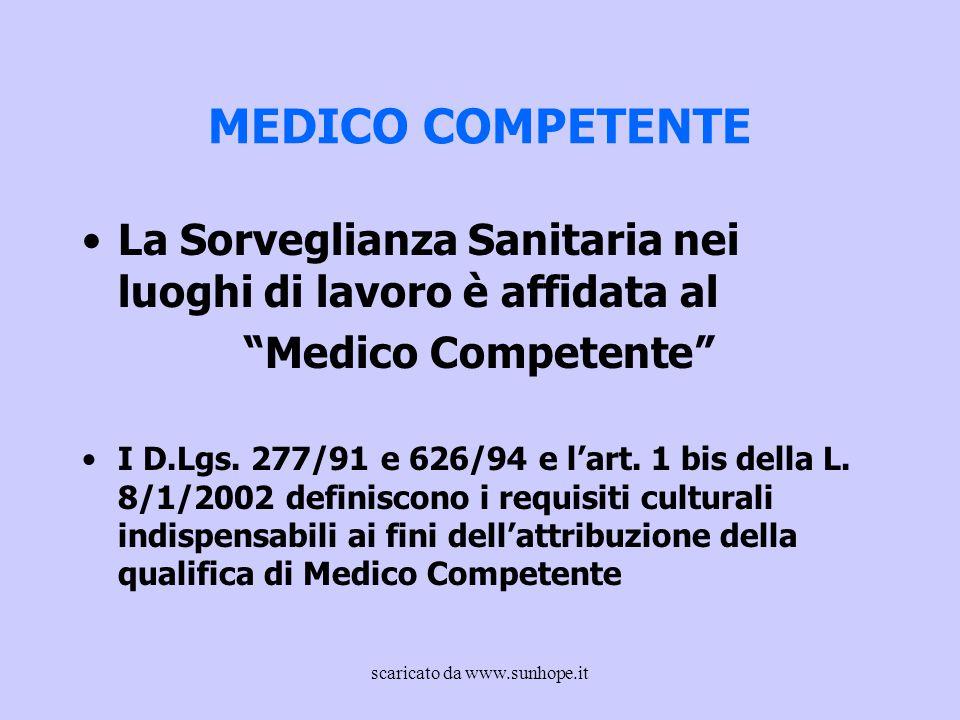 """MEDICO COMPETENTE La Sorveglianza Sanitaria nei luoghi di lavoro è affidata al """"Medico Competente"""" I D.Lgs. 277/91 e 626/94 e l'art. 1 bis della L. 8/"""