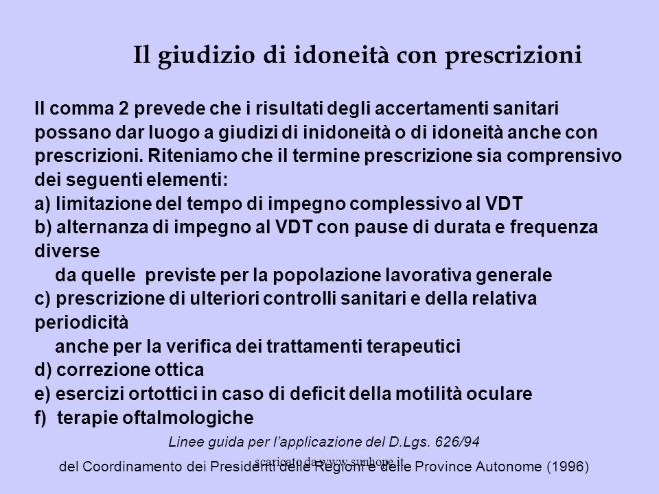 Il comma 2 prevede che i risultati degli accertamenti sanitari possano dar luogo a giudizi di inidoneità o di idoneità anche con prescrizioni. Ritenia