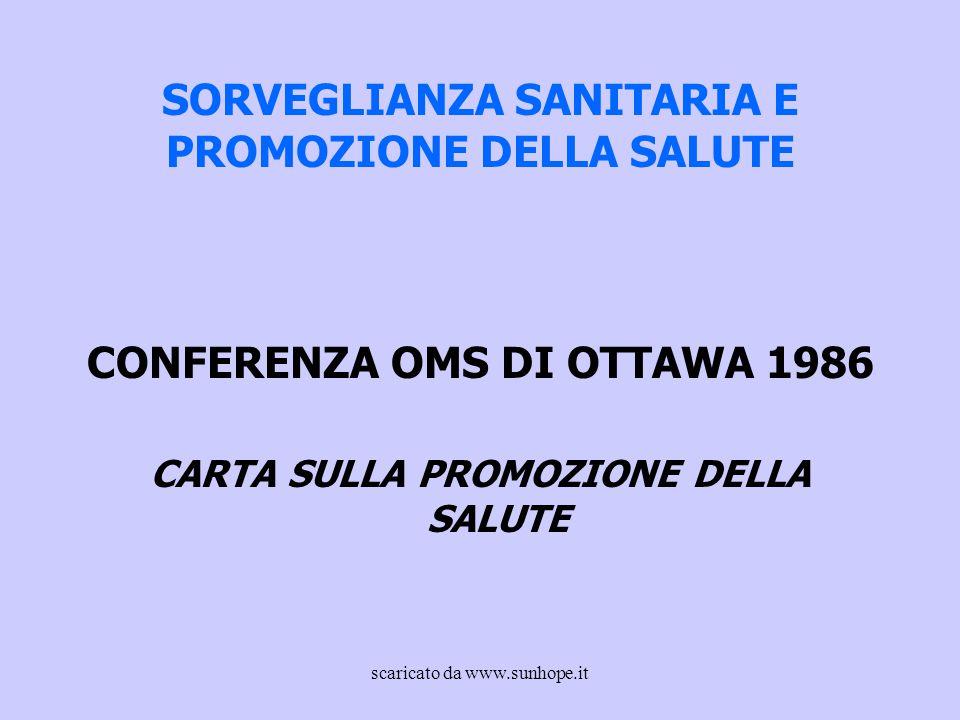 SORVEGLIANZA SANITARIA E PROMOZIONE DELLA SALUTE CONFERENZA OMS DI OTTAWA 1986 CARTA SULLA PROMOZIONE DELLA SALUTE scaricato da www.sunhope.it