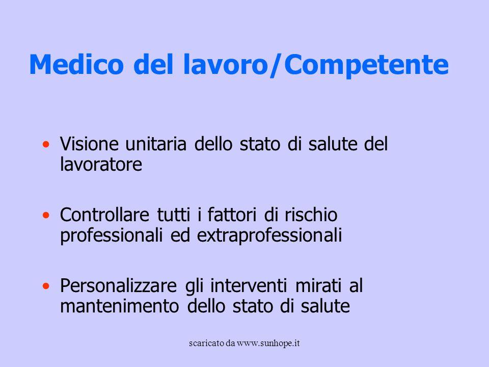 Medico del lavoro/Competente Visione unitaria dello stato di salute del lavoratore Controllare tutti i fattori di rischio professionali ed extraprofes