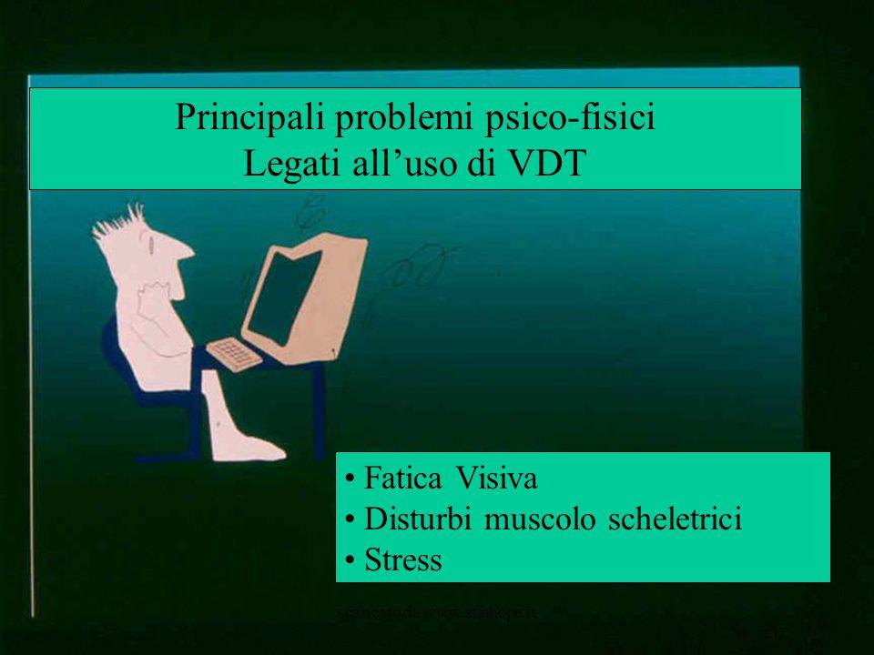 Principali problemi psico-fisici Legati all'uso di VDT Fatica Visiva Disturbi muscolo scheletrici Stress scaricato da www.sunhope.it