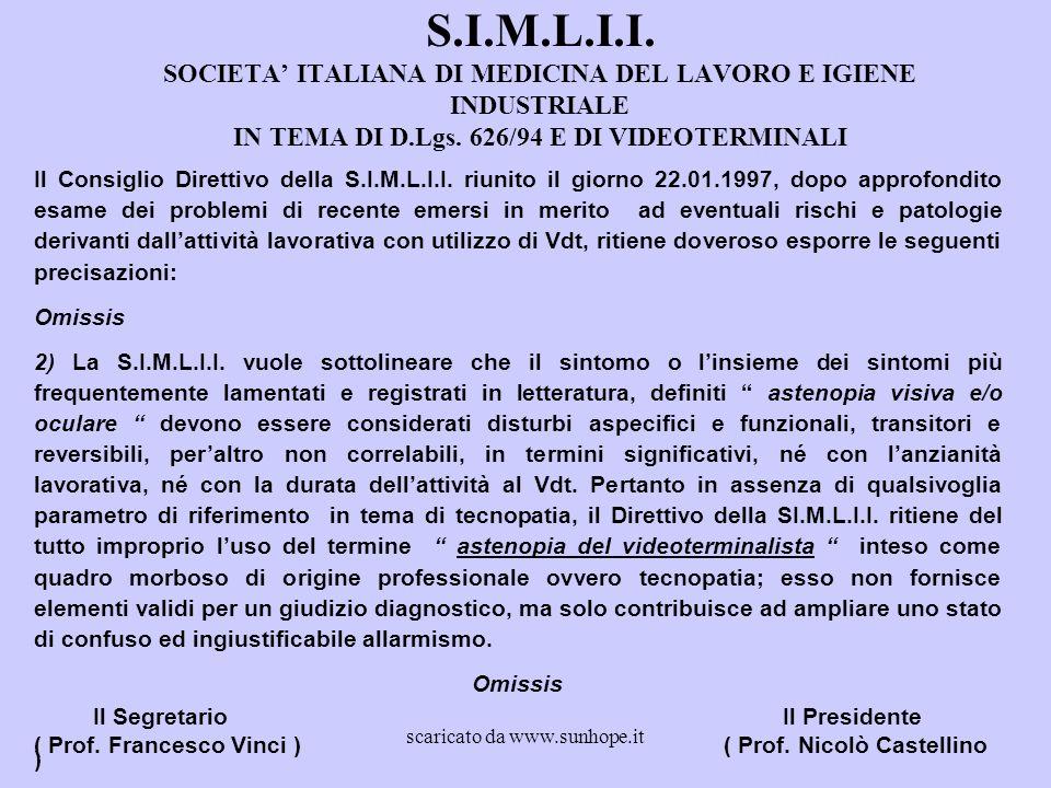 S.I.M.L.I.I. SOCIETA' ITALIANA DI MEDICINA DEL LAVORO E IGIENE INDUSTRIALE IN TEMA DI D.Lgs. 626/94 E DI VIDEOTERMINALI Il Consiglio Direttivo della S
