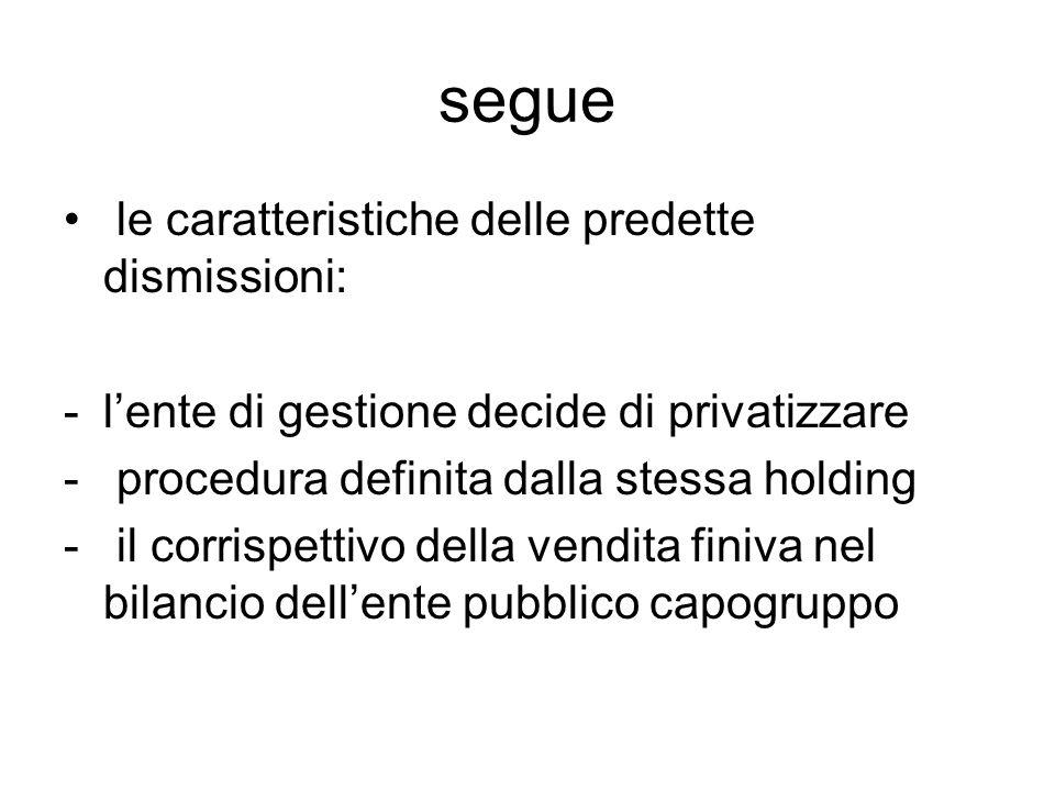 segue le caratteristiche delle predette dismissioni: -l'ente di gestione decide di privatizzare - procedura definita dalla stessa holding - il corrispettivo della vendita finiva nel bilancio dell'ente pubblico capogruppo
