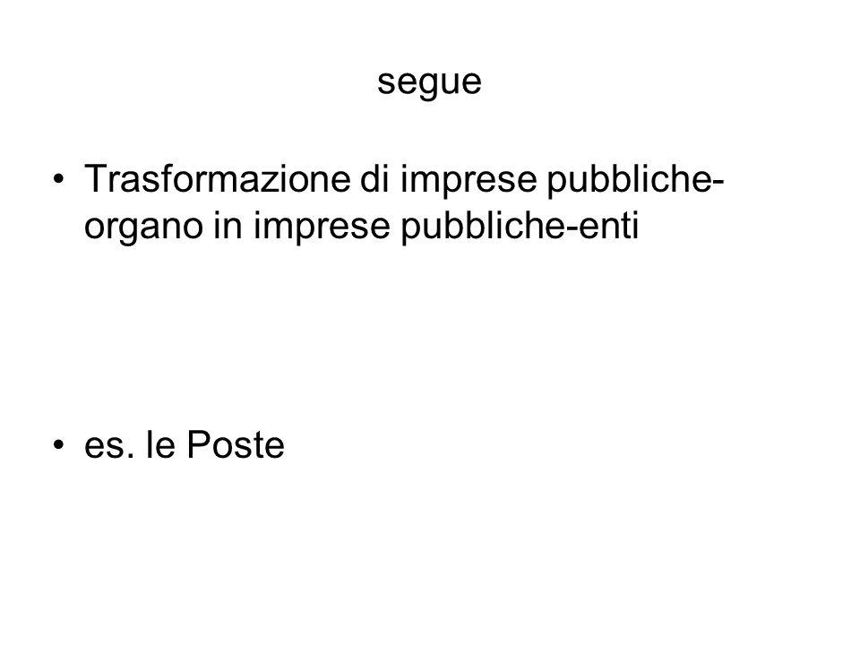 segue Trasformazione di imprese pubbliche- organo in imprese pubbliche-enti es. le Poste