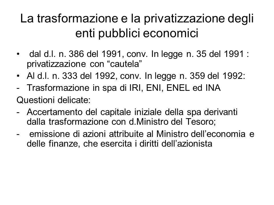 La trasformazione e la privatizzazione degli enti pubblici economici dal d.l.