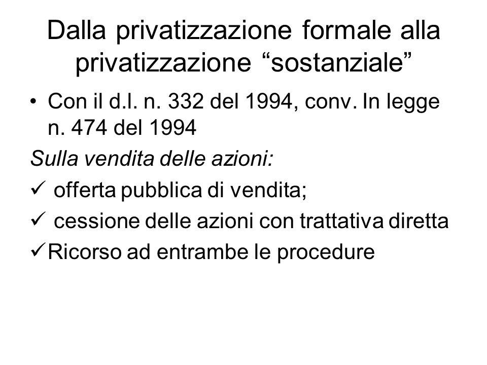 Dalla privatizzazione formale alla privatizzazione sostanziale Con il d.l.