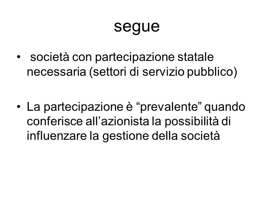 segue società con partecipazione statale necessaria (settori di servizio pubblico) La partecipazione è prevalente quando conferisce all'azionista la possibilità di influenzare la gestione della società