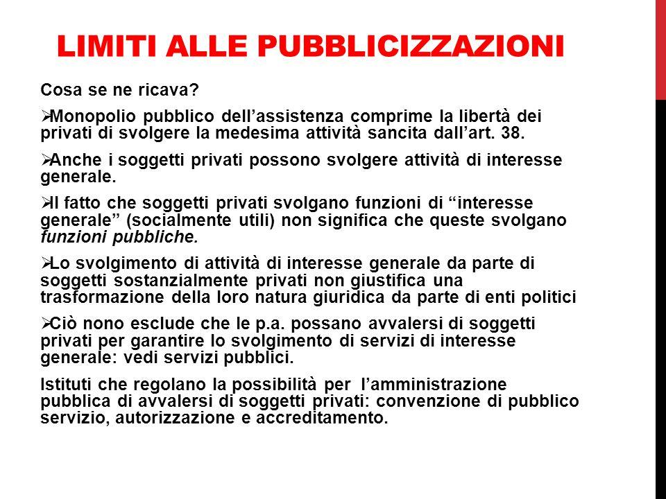 LIMITI ALLE PUBBLICIZZAZIONI Cosa se ne ricava?  Monopolio pubblico dell'assistenza comprime la libertà dei privati di svolgere la medesima attività