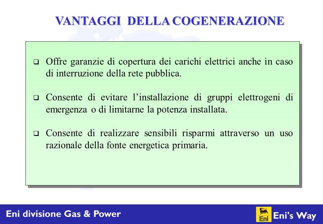 VANTAGGI DELLA COGENERAZIONE  Offre garanzie di copertura dei carichi elettrici anche in caso di interruzione della rete pubblica.  Consente di evit