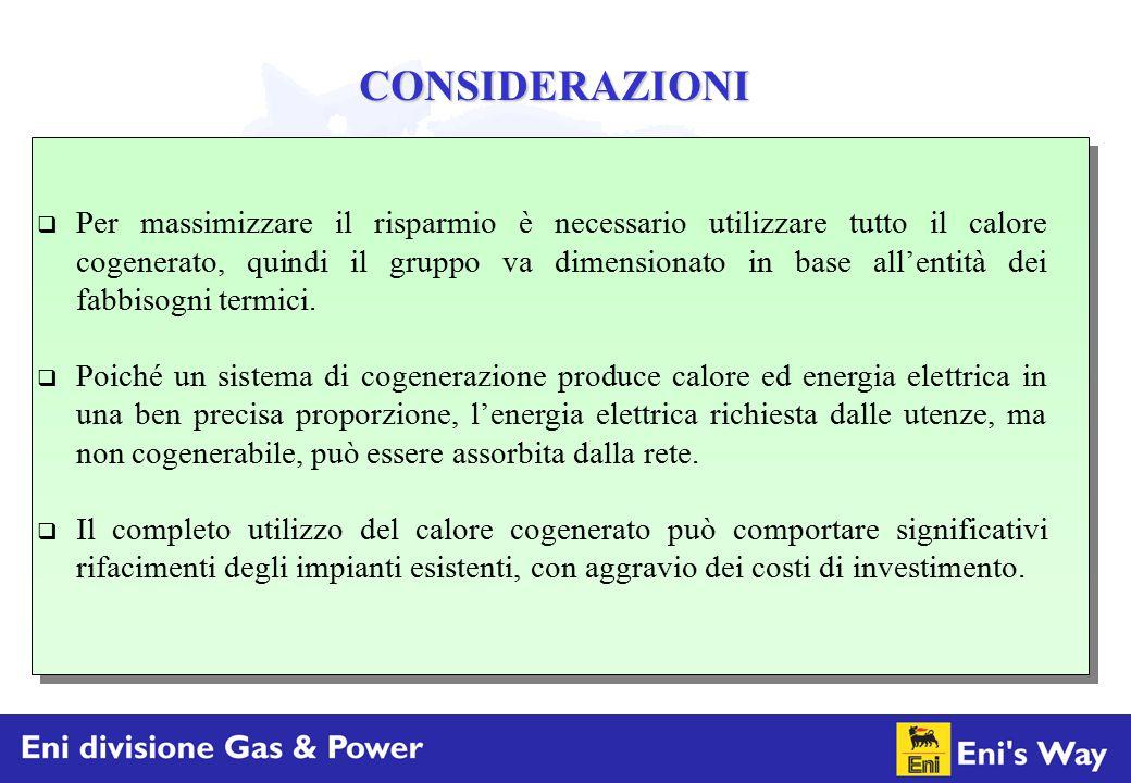 CONSIDERAZIONI  Per massimizzare il risparmio è necessario utilizzare tutto il calore cogenerato, quindi il gruppo va dimensionato in base all'entità