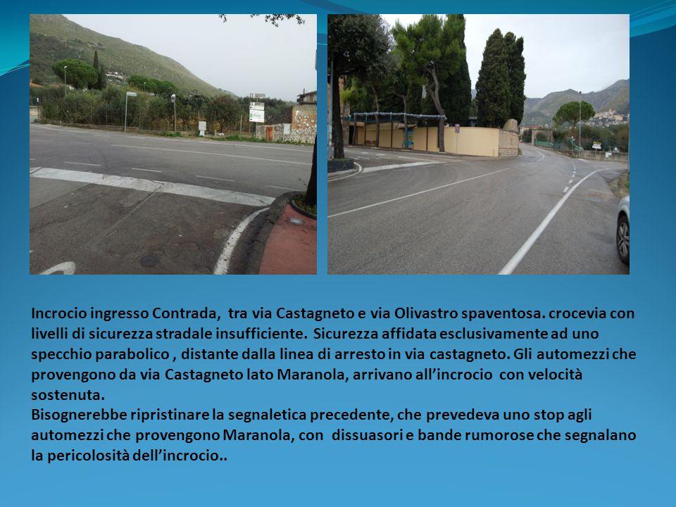 Incrocio ingresso Contrada, tra via Castagneto e via Olivastro spaventosa. crocevia con livelli di sicurezza stradale insufficiente. Sicurezza affidat