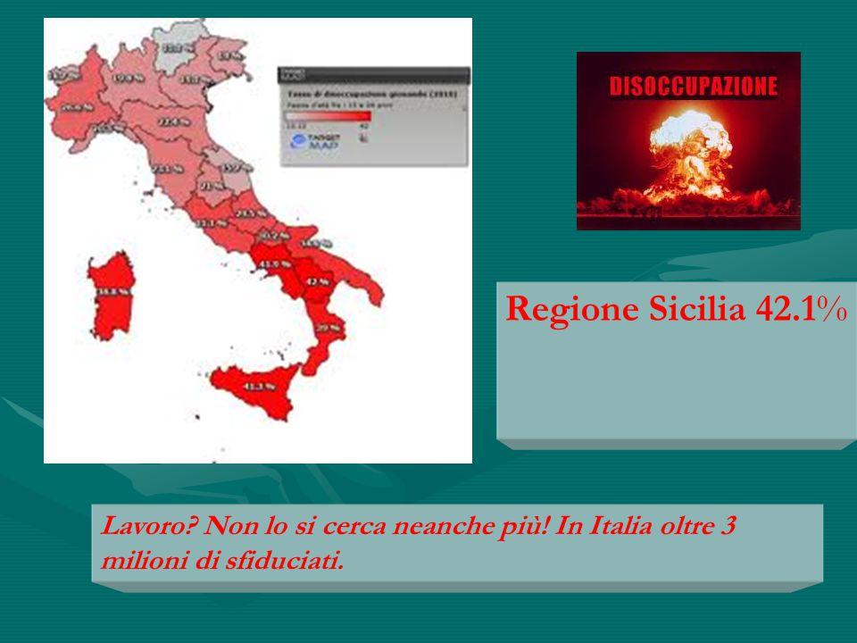 Regione Sicilia 42.1% Lavoro Non lo si cerca neanche più! In Italia oltre 3 milioni di sfiduciati.