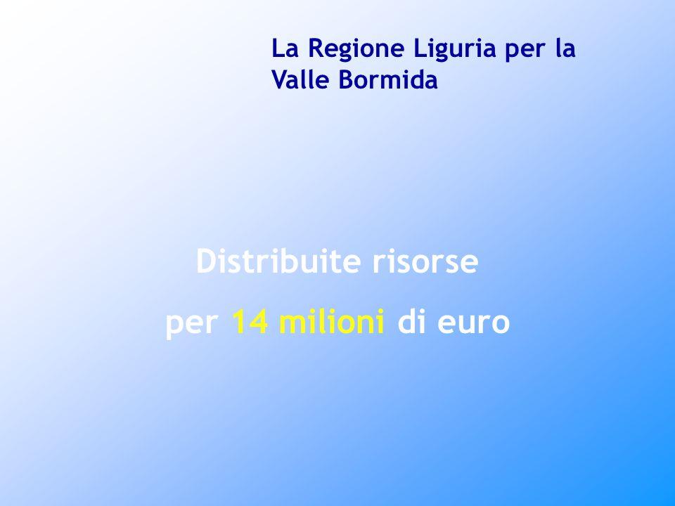 Distribuite risorse per 14 milioni di euro La Regione Liguria per la Valle Bormida