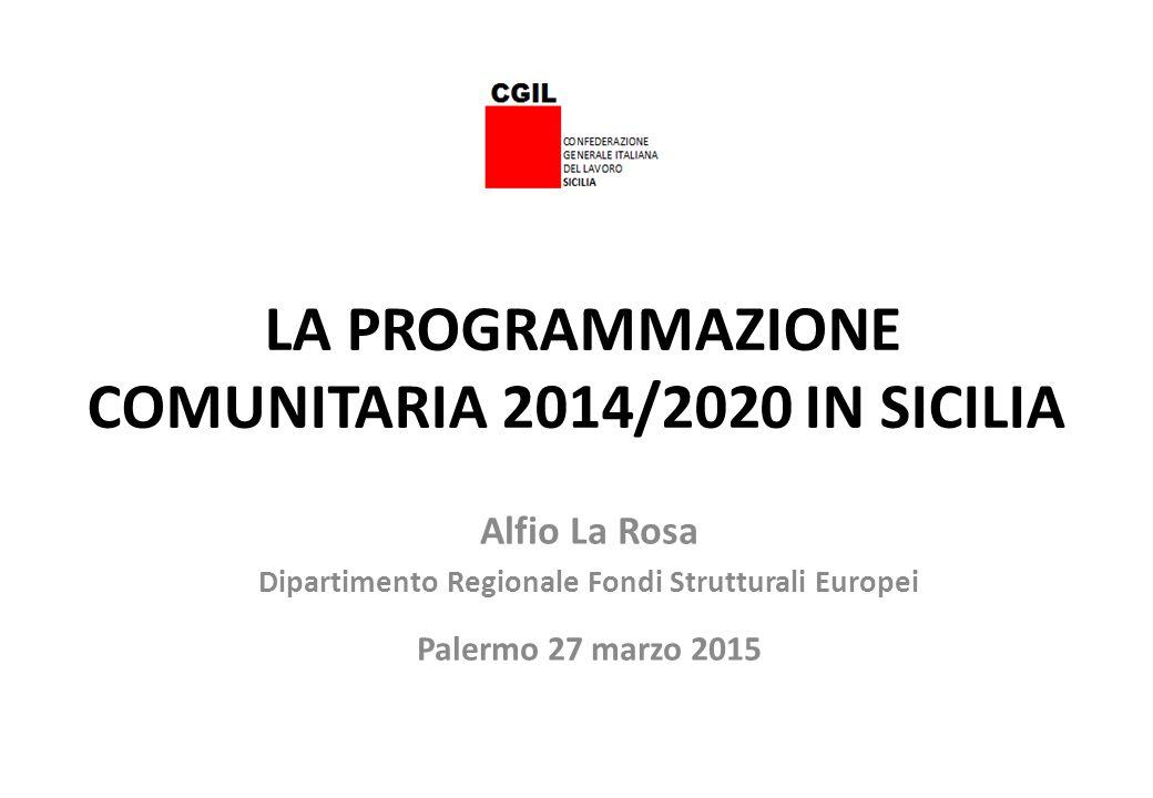 LA PROGRAMMAZIONE COMUNITARIA 2014/2020 IN SICILIA Alfio La Rosa Dipartimento Regionale Fondi Strutturali Europei Palermo 27 marzo 2015