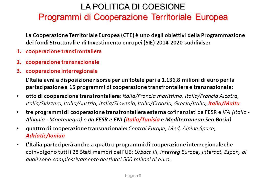 LA POLITICA DI COESIONE Programmi di Cooperazione Territoriale Europea La Cooperazione Territoriale Europea (CTE) è uno degli obiettivi della Programm