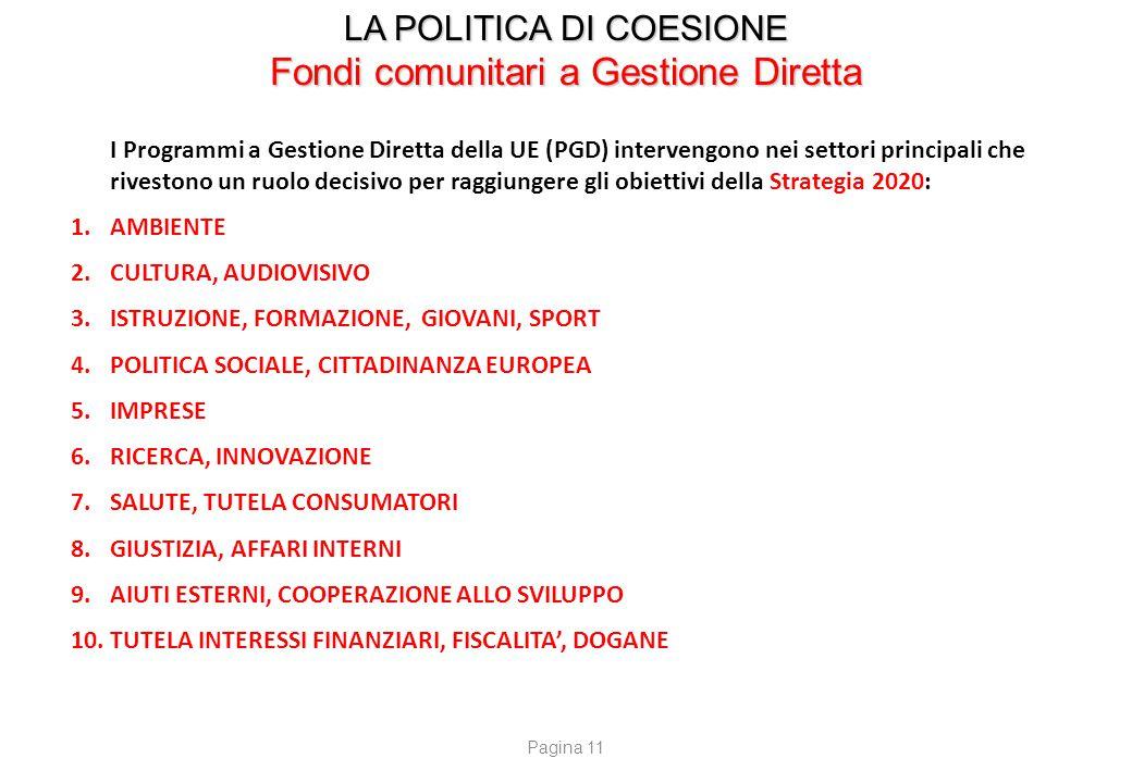 LA POLITICA DI COESIONE Fondi comunitari a Gestione Diretta I Programmi a Gestione Diretta della UE (PGD) intervengono nei settori principali che rive