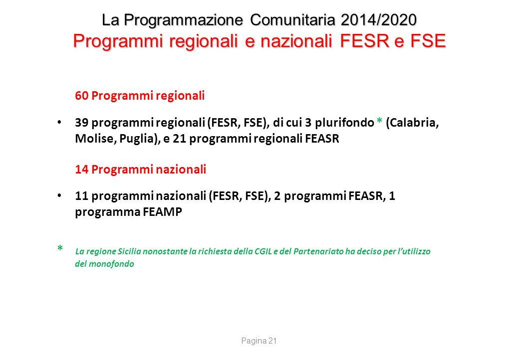 La Programmazione Comunitaria 2014/2020 Programmi regionali e nazionali FESR e FSE 60 Programmi regionali 39 programmi regionali (FESR, FSE), di cui 3