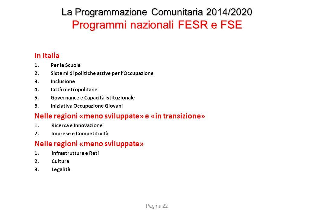 La Programmazione Comunitaria 2014/2020 Programmi nazionali FESR e FSE In Italia 1.Per la Scuola 2.Sistemi di politiche attive per l'Occupazione 3.Inc