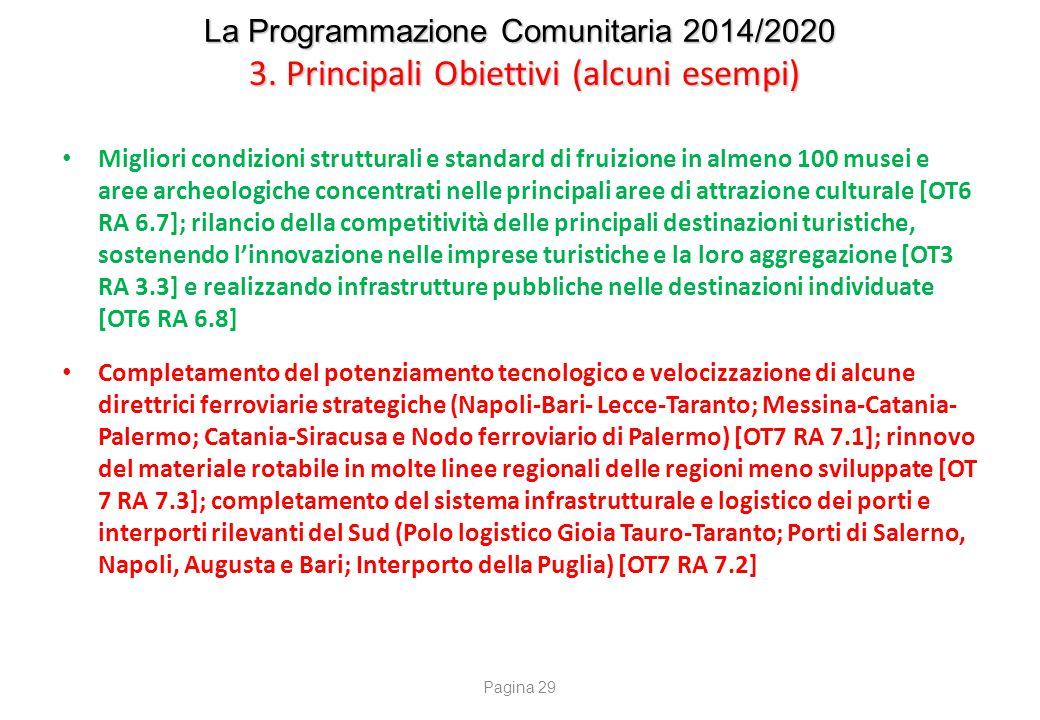 La Programmazione Comunitaria 2014/2020 3. Principali Obiettivi (alcuni esempi) Migliori condizioni strutturali e standard di fruizione in almeno 100