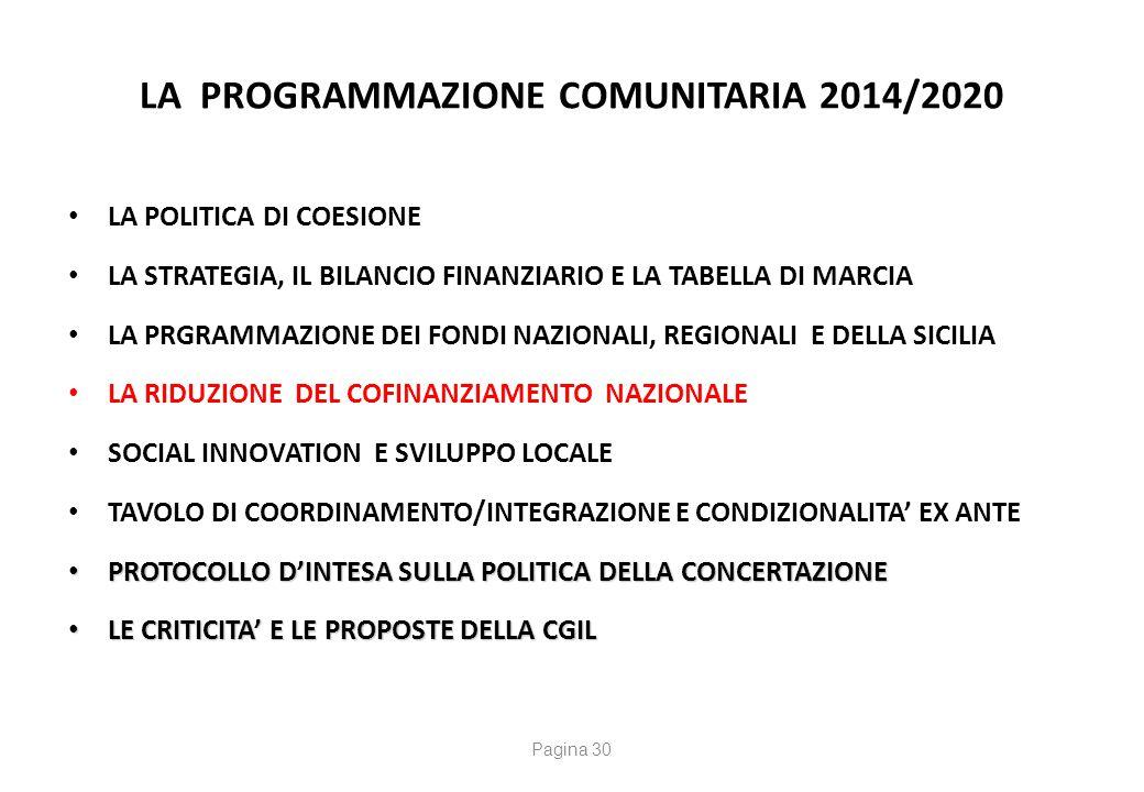 LA PROGRAMMAZIONE COMUNITARIA 2014/2020 LA POLITICA DI COESIONE LA STRATEGIA, IL BILANCIO FINANZIARIO E LA TABELLA DI MARCIA LA PRGRAMMAZIONE DEI FOND