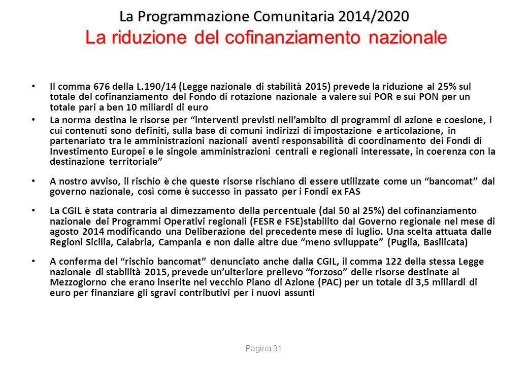 La Programmazione Comunitaria 2014/2020 La riduzione del cofinanziamento nazionale Il comma 676 della L.190/14 (Legge nazionale di stabilità 2015) pre