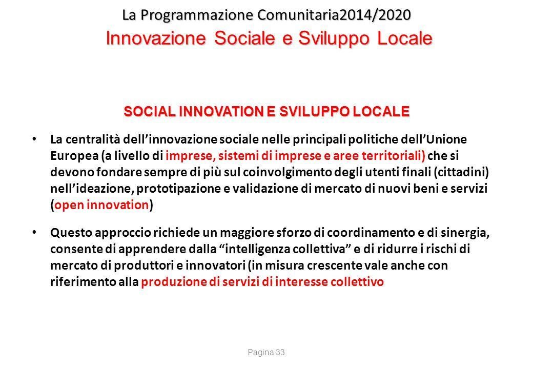 La Programmazione Comunitaria2014/2020 Innovazione Sociale e Sviluppo Locale SOCIAL INNOVATION E SVILUPPO LOCALE La centralità dell'innovazione social