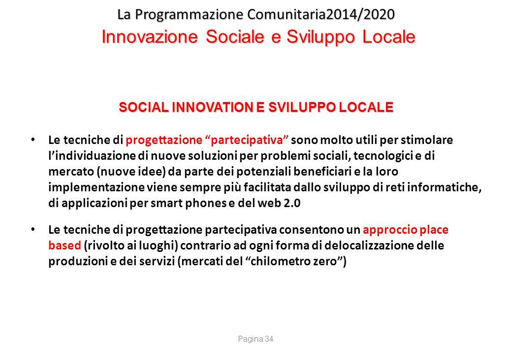 """La Programmazione Comunitaria2014/2020 Innovazione Sociale e Sviluppo Locale SOCIAL INNOVATION E SVILUPPO LOCALE Le tecniche di progettazione """"parteci"""