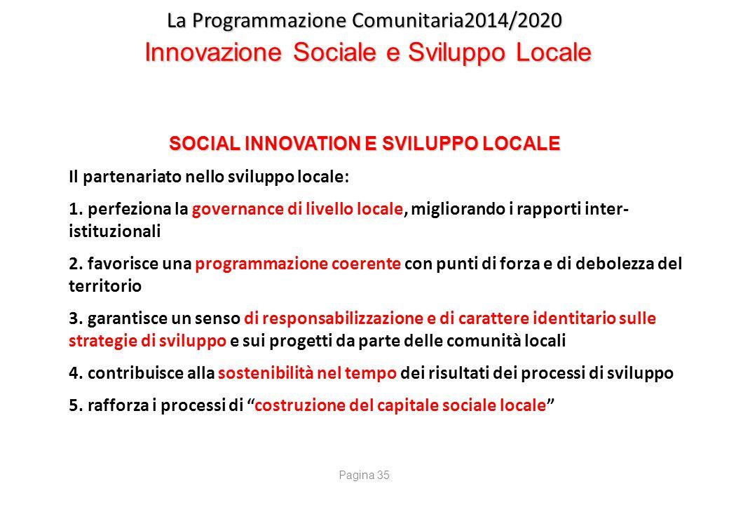 La Programmazione Comunitaria2014/2020 Innovazione Sociale e Sviluppo Locale SOCIAL INNOVATION E SVILUPPO LOCALE Il partenariato nello sviluppo locale