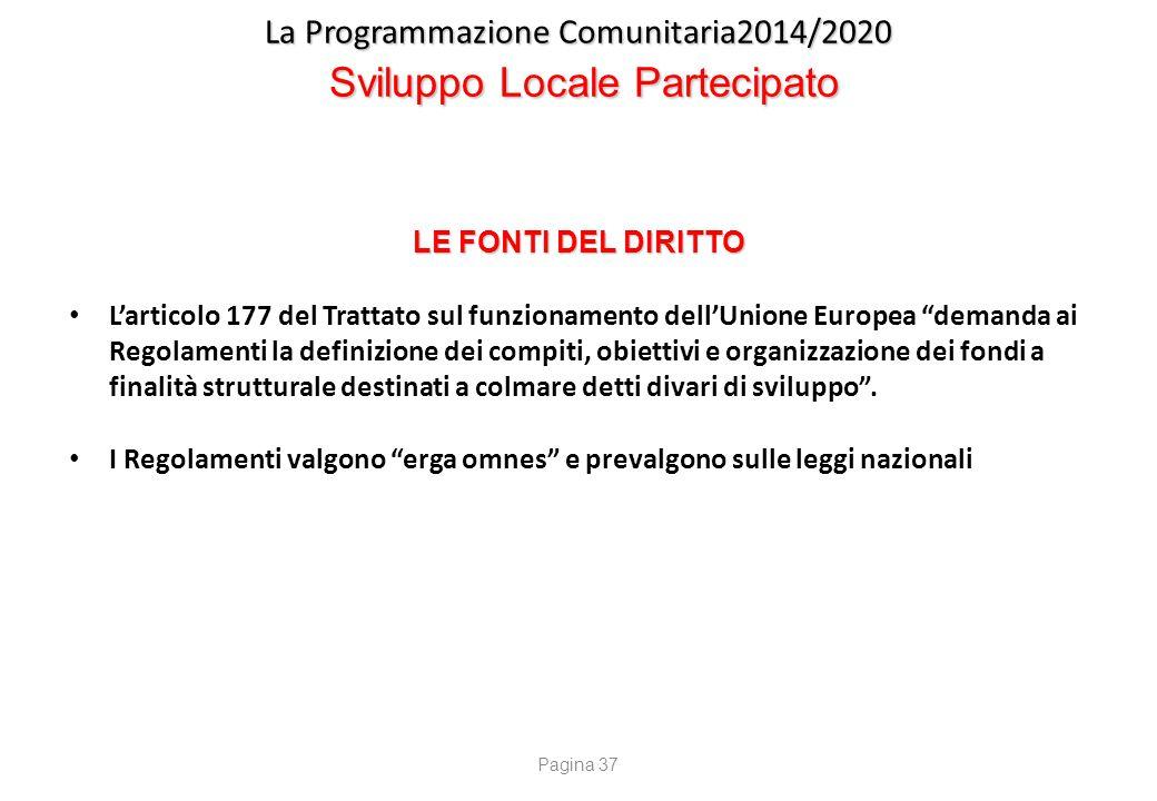 La Programmazione Comunitaria2014/2020 Sviluppo Locale Partecipato LE FONTI DEL DIRITTO L'articolo 177 del Trattato sul funzionamento dell'Unione Euro