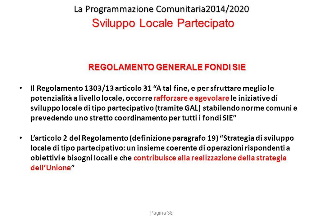 """La Programmazione Comunitaria2014/2020 Sviluppo Locale Partecipato REGOLAMENTO GENERALE FONDI SIE Il Regolamento 1303/13 articolo 31 """"A tal fine, e pe"""