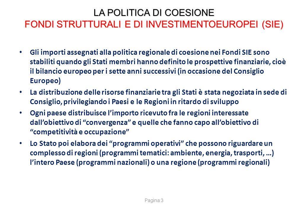 LA POLITICA DI COESIONE FONDI STRUTTURALI E DI INVESTIMENTOEUROPEI (SIE) Gli importi assegnati alla politica regionale di coesione nei Fondi SIE sono