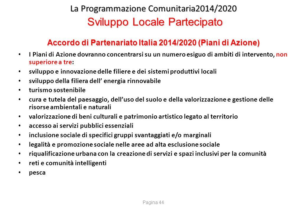 La Programmazione Comunitaria2014/2020 Sviluppo Locale Partecipato Accordo di Partenariato Italia 2014/2020 (Piani di Azione) I Piani di Azione dovran