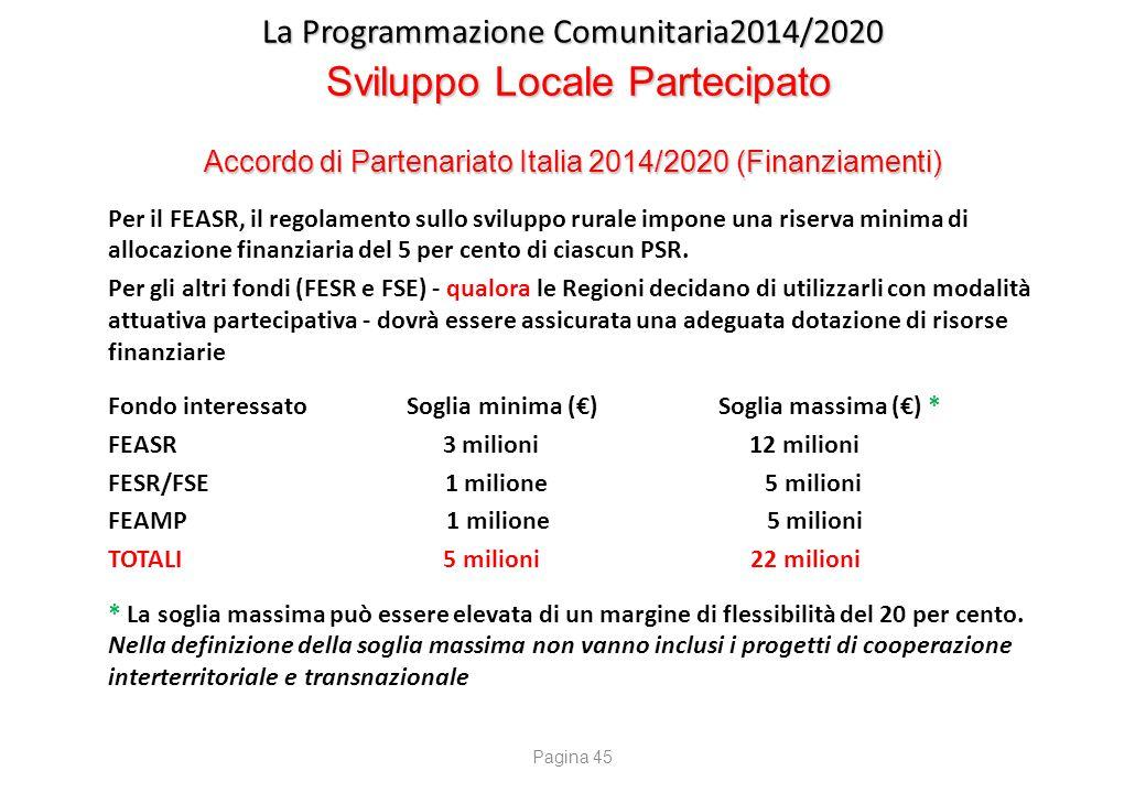 La Programmazione Comunitaria2014/2020 Sviluppo Locale Partecipato Accordo di Partenariato Italia 2014/2020 (Finanziamenti) Per il FEASR, il regolamen