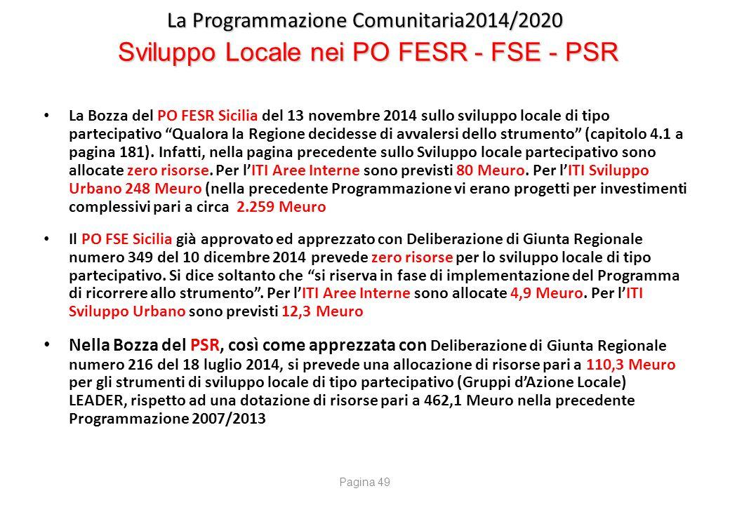 La Programmazione Comunitaria2014/2020 Sviluppo Locale nei PO FESR - FSE - PSR La Bozza del PO FESR Sicilia del 13 novembre 2014 sullo sviluppo locale