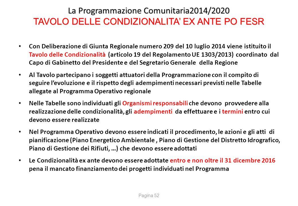 La Programmazione Comunitaria2014/2020 TAVOLO DELLE CONDIZIONALITA' EX ANTE PO FESR La Programmazione Comunitaria2014/2020 TAVOLO DELLE CONDIZIONALITA