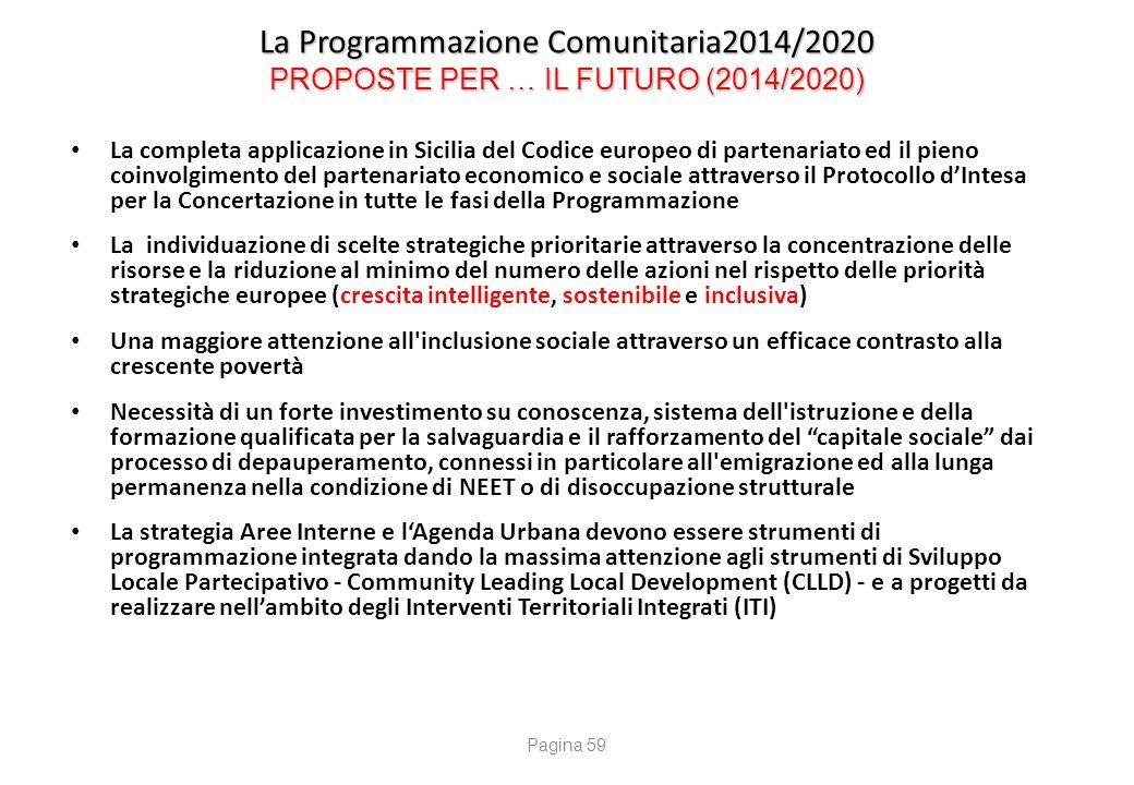 La Programmazione Comunitaria2014/2020 PROPOSTE PER … IL FUTURO (2014/2020) La completa applicazione in Sicilia del Codice europeo di partenariato ed