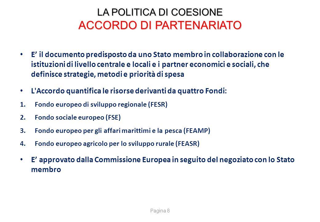 LA POLITICA DI COESIONE ACCORDO DI PARTENARIATO E' il documento predisposto da uno Stato membro in collaborazione con le istituzioni di livello centra