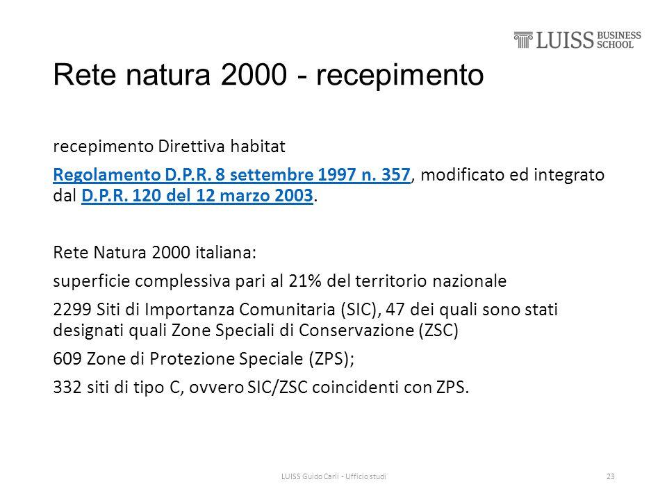 Rete natura 2000 - recepimento recepimento Direttiva habitat Regolamento D.P.R. 8 settembre 1997 n. 357Regolamento D.P.R. 8 settembre 1997 n. 357, mod