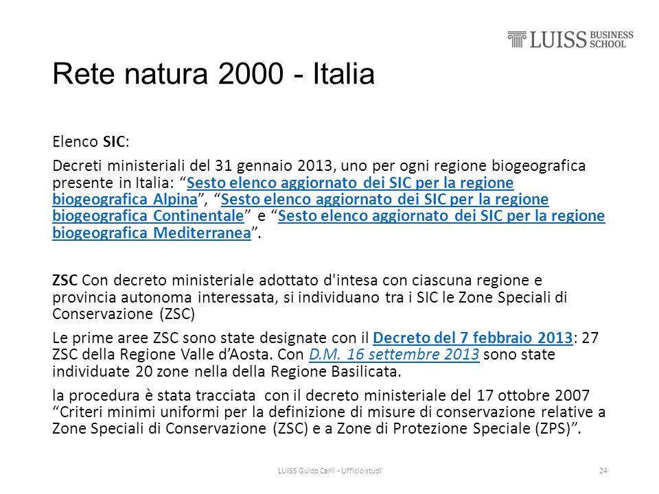 """Rete natura 2000 - Italia Elenco SIC: Decreti ministeriali del 31 gennaio 2013, uno per ogni regione biogeografica presente in Italia: """"Sesto elenco a"""