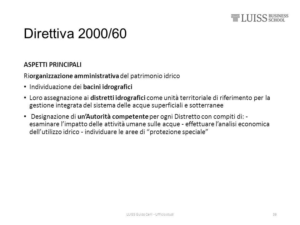 Direttiva 2000/60 ASPETTI PRINCIPALI Riorganizzazione amministrativa del patrimonio idrico Individuazione dei bacini idrografici Loro assegnazione ai