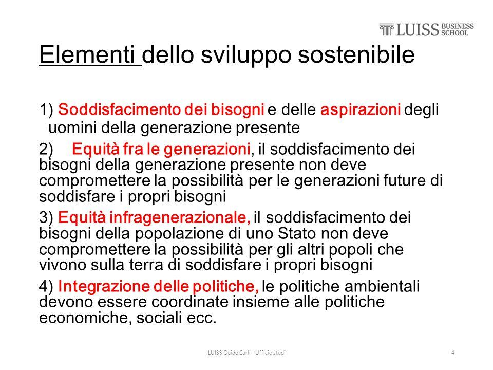 Elementi dello sviluppo sostenibile 1) Soddisfacimento dei bisogni e delle aspirazioni degli uomini della generazione presente 2) Equità fra le genera